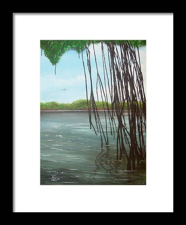 Seascapes Framed Print featuring the painting Mangroves by Tony Rodriguez