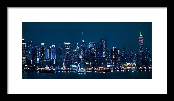 New York Framed Print featuring the photograph Manhattan Skyline Panorama by Andrew Kazmierski