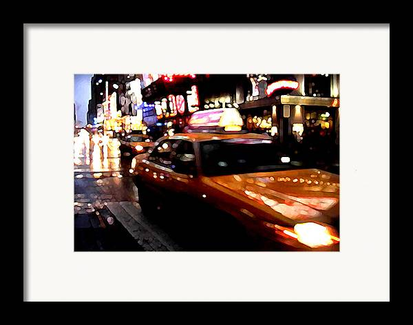 Taxi Framed Print featuring the painting Manhattan Taxis by Jose Roldan Rendon