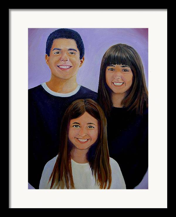 Portrait Framed Print featuring the painting Mann Family by George Markiewicz
