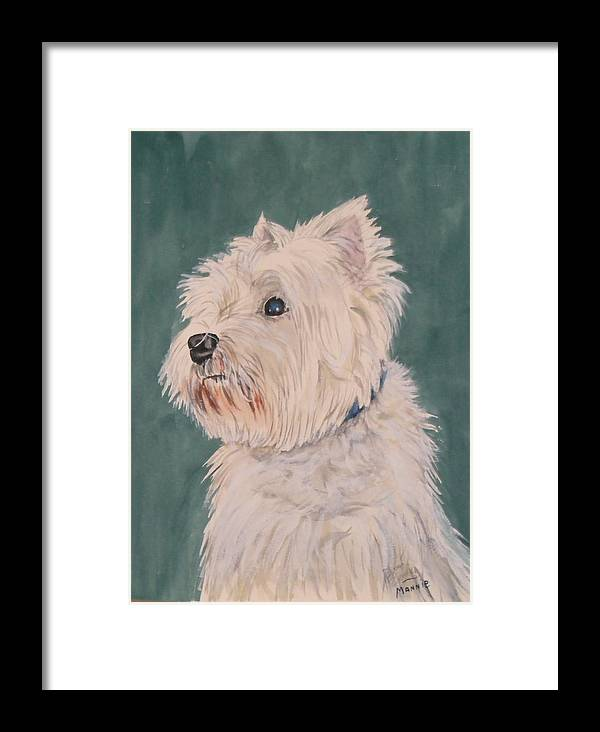 Dog Framed Print featuring the painting Mannie by Diane Ziemski