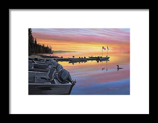 Landscape Framed Print featuring the painting Manotak Lodge by Anthony J Padgett