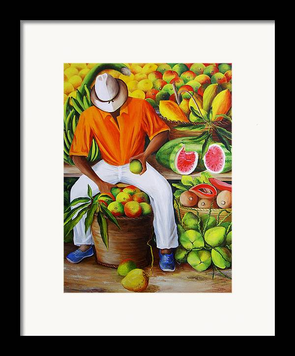 Caribbean Framed Print featuring the painting Manuel The Caribbean Fruit Vendor by Dominica Alcantara