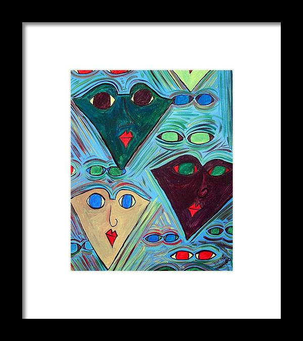 Framed Print featuring the painting Many Faces Blue by Margie Byrne