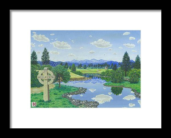 Landscape Framed Print featuring the painting Many Miles Away by Bill Perkins