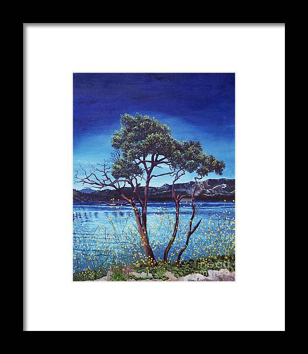 Llandscape Painting Framed Print featuring the painting Manzanita At Lake Hemet by Jiji Lee