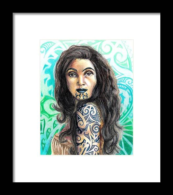 Woman Framed Print featuring the drawing Maori Woman by Scarlett Royal