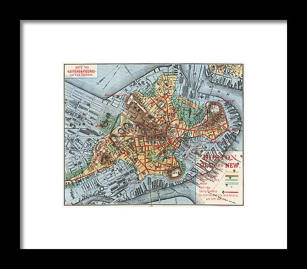1880 Framed Print featuring the photograph Map: Boston, C1880 by Granger
