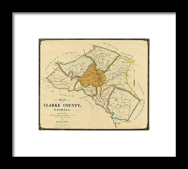 Map Of Georgia Athens.Map Of Athens Georgia 1893 Framed Print