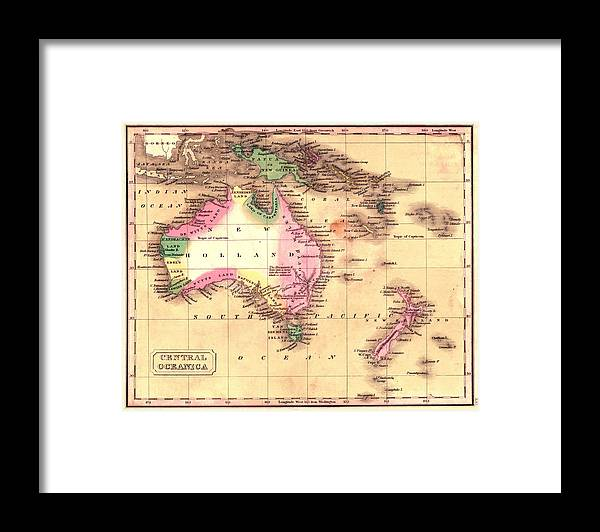Map Of Australia Framed Print featuring the photograph Map Of Australia 1828 by Andrew Fare