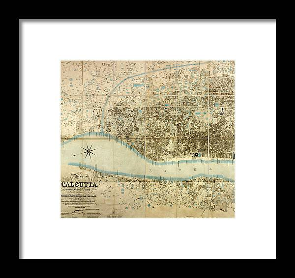 Map Of Calcutta Framed Print featuring the photograph Map Of Calcutta 1857 by Andrew Fare