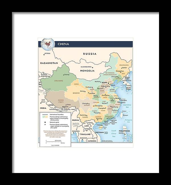 Atlas Framed Print featuring the mixed media Map Of China by Roy Pedersen