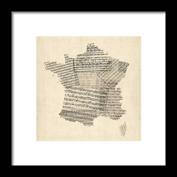 France Map Framed Print featuring the digital art Map of France Old Sheet Music Map by Michael Tompsett