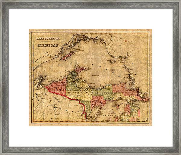 picture about Printable Map of Upper Peninsula Michigan identified as Map Of Michigan Higher Peninsula And Lake Excellent Basic Circa 1873 Upon Worn Distressed Canvas Framed Print