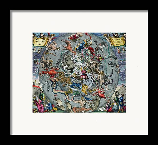 Map Framed Print featuring the painting Map Of The Constellations Of The Northern Hemisphere by Andreas Cellarius