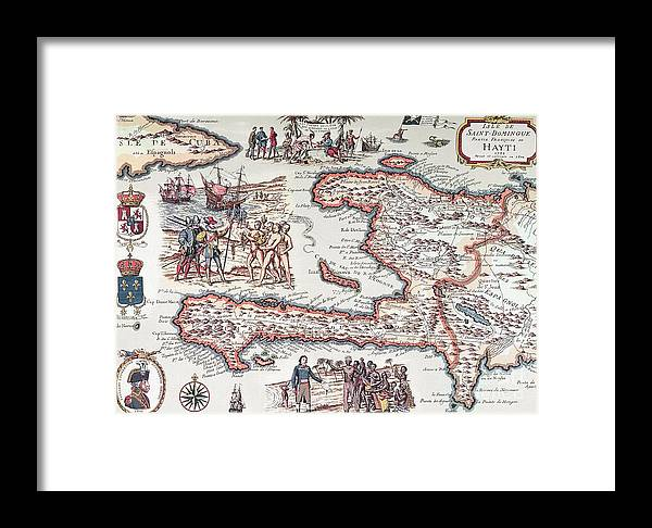 Maps Framed Print featuring the drawing Map Of The Island Of Haiti by French School