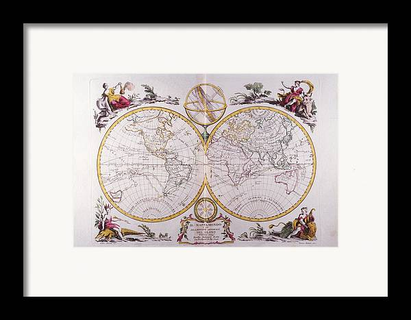 Horizontal Framed Print featuring the digital art Map Of The World by Fototeca Storica Nazionale