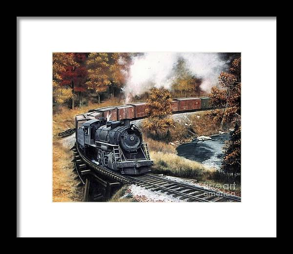 Train Painting Railroad Maryland And Pennsylvania Autumn Fall Colors Steam Engine Framed Print featuring the painting MaPa by David Mittner