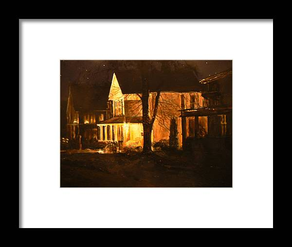 Night Scene Framed Print featuring the painting Maple Avenue Nocturne by Thomas Akers