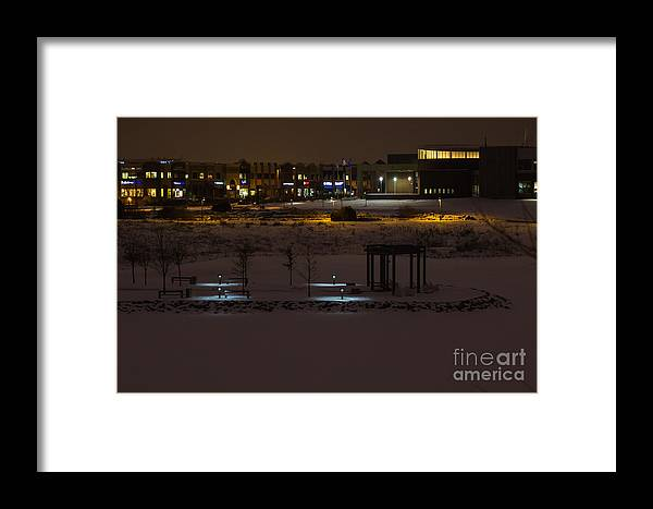 Maple Grove Framed Print featuring the digital art Maple Grove City Center In Winter by Gary Rieks
