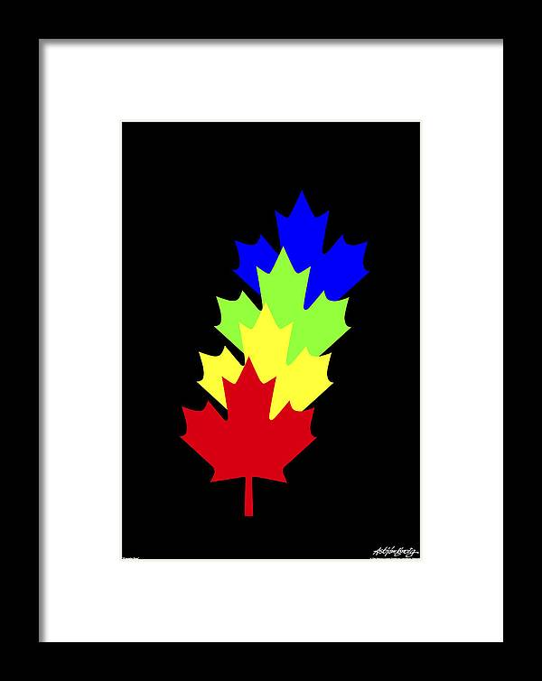 Maple Leaves Framed Print featuring the painting Maple Leaves by Asbjorn Lonvig