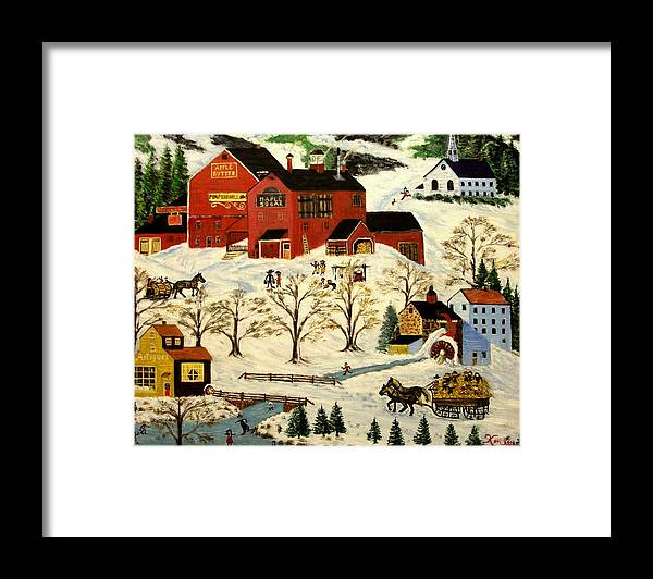 Folk Art Framed Print featuring the painting Maple Syrup Factory by Kenneth LePoidevin