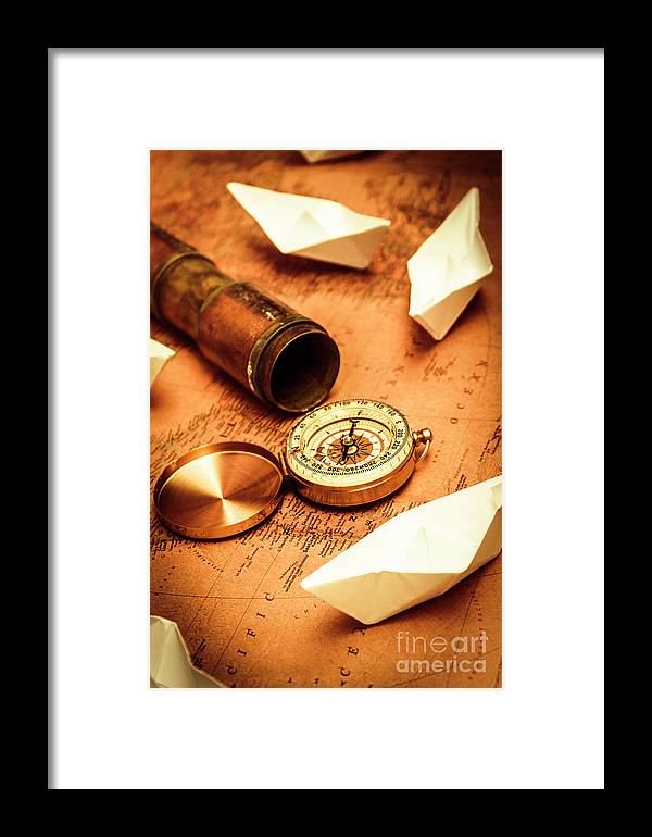 Vintage Framed Print featuring the photograph Maps And Bearings by Jorgo Photography - Wall Art Gallery