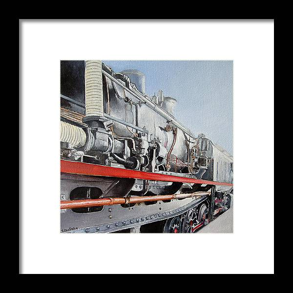 Train Framed Print featuring the painting Maquina de Vapor by Tomas Castano