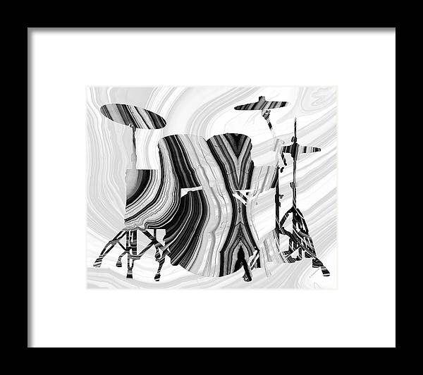 Drum Framed Print featuring the painting Marbled Music Art - Drums - Sharon Cummings by Sharon Cummings