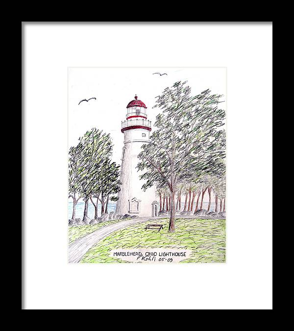 Lighthouse Artwork Framed Print featuring the drawing Marblehead Ohio Lighthouse by Frederic Kohli