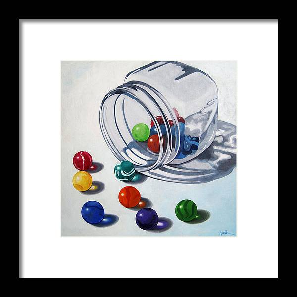 Marbles Framed Print featuring the painting Marbles and Glass Jar still life painting by Linda Apple
