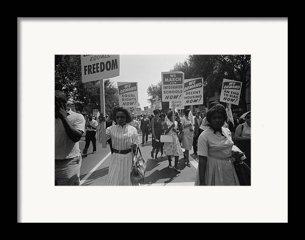 History Framed Print featuring the photograph March On Washington. African Americans by Everett