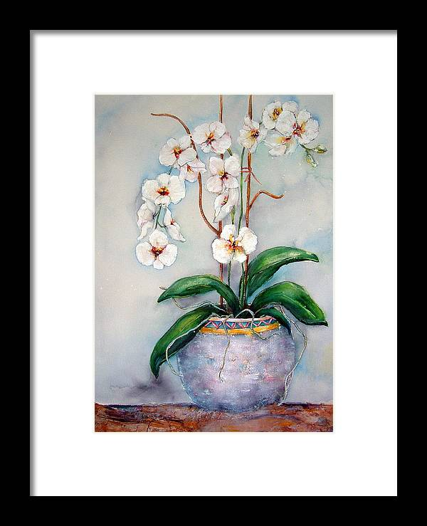 Floral Framed Print featuring the painting March Orchids by Cheryl Ehlers