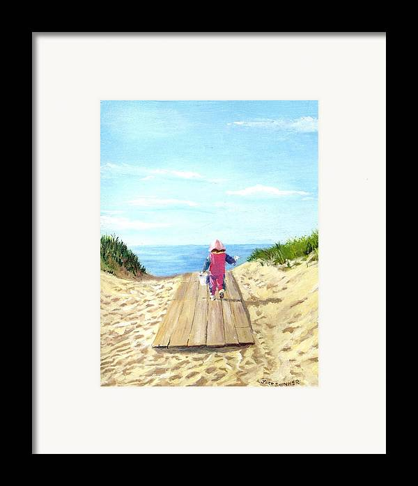 Beach Framed Print featuring the painting March To The Beach by Jack Skinner