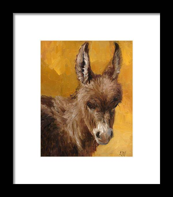 Donkey Framed Print featuring the painting Marcie by Lilli Pell