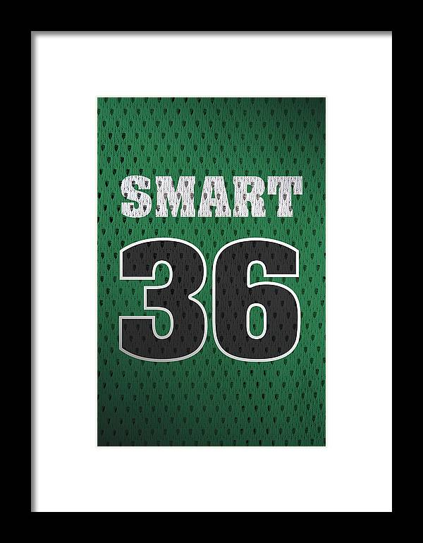 reputable site 7b3f7 b5ad0 Marcus Smart Boston Celtics Number 36 Retro Vintage Jersey Closeup Graphic  Design Framed Print