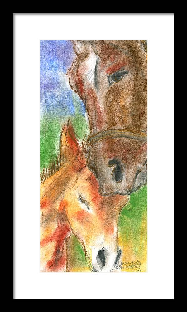 Horses Framed Print featuring the pastel Mare And Foal by Mary Armstrong