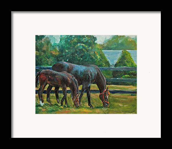 Equine Art Framed Print featuring the painting Mare And Foal by Stephanie Allison