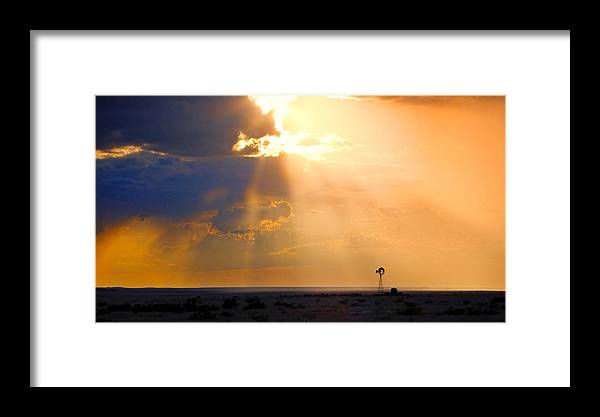 Skip Hunt Framed Print featuring the photograph Marfa Windmill 1 by Skip Hunt