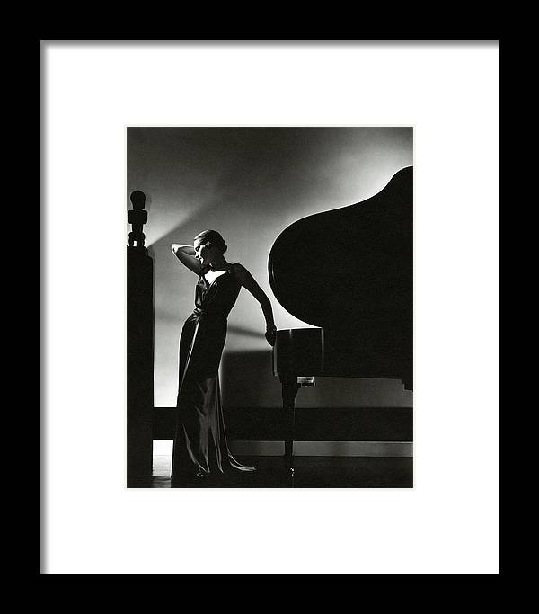 Fashion Framed Print featuring the photograph Margaret Horan Posing Beside A Piano by Edward Steichen