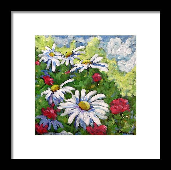 Daysy Framed Print featuring the painting Marguerites 002 by Richard T Pranke