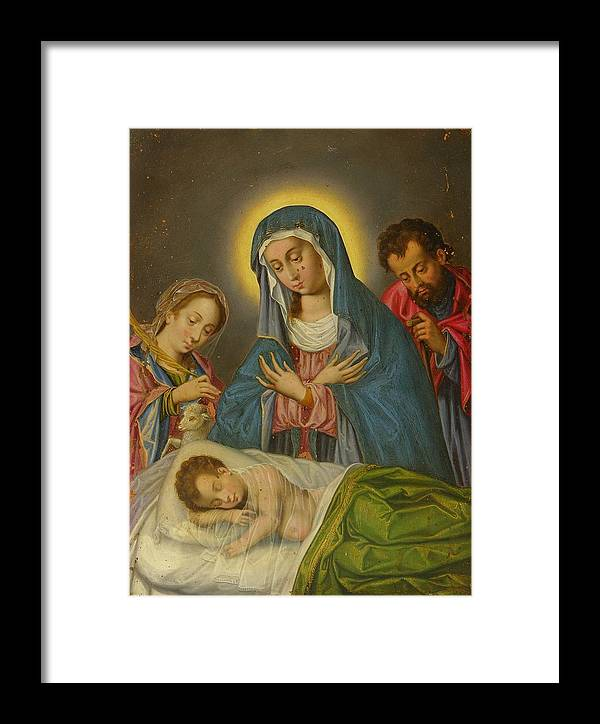 Religion Framed Print featuring the painting Maria San Jose Y Santa Ines Contemplando Al Nino by Unknown