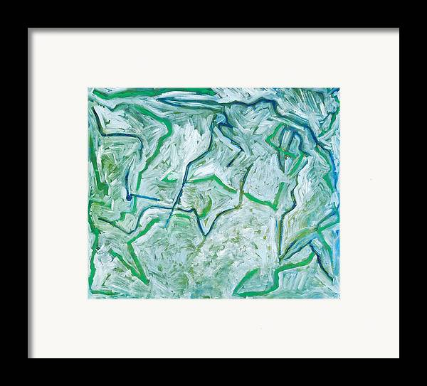 Abstract Green White Rock Drawing Lines Framed Print featuring the painting Maria Verde by Joan De Bot