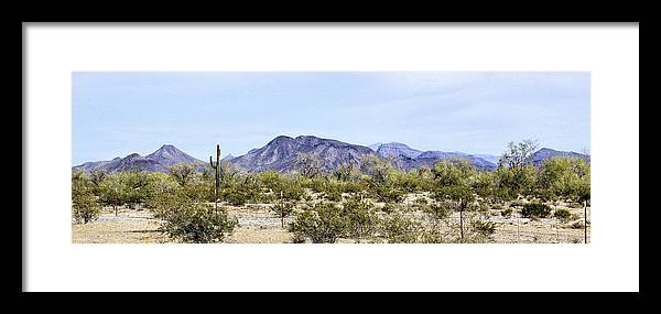 Photography Framed Print featuring the photograph Maricopa Mountains Panorama by Sharon Broucek