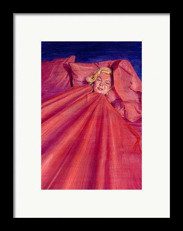 Marilyn Monroe Framed Print featuring the painting Marilyn In Bed by Ken Meyer