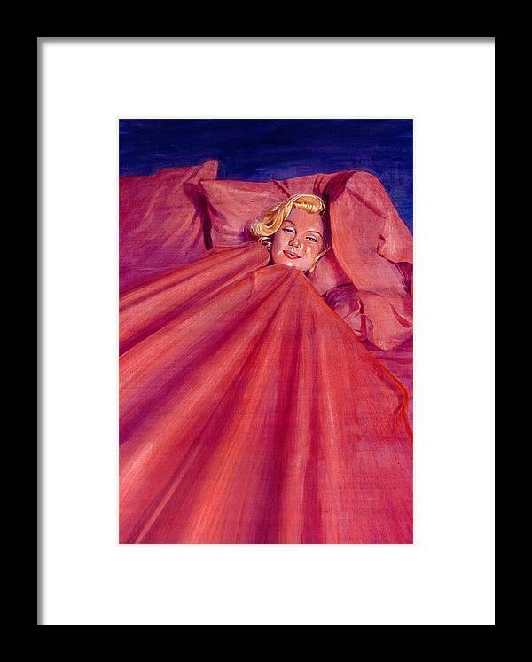 Marilyn Monroe Framed Print featuring the painting Marilyn In Bed by Ken Meyer jr