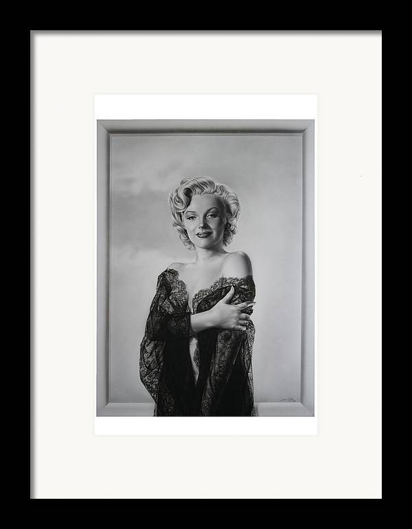 Marilyn Framed Print featuring the painting Marilyn In Lace by Terry Stephens