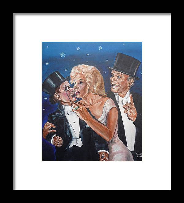 Old Time Radio Framed Print featuring the painting Marilyn Monroe Marries Charlie Mccarthy by Bryan Bustard