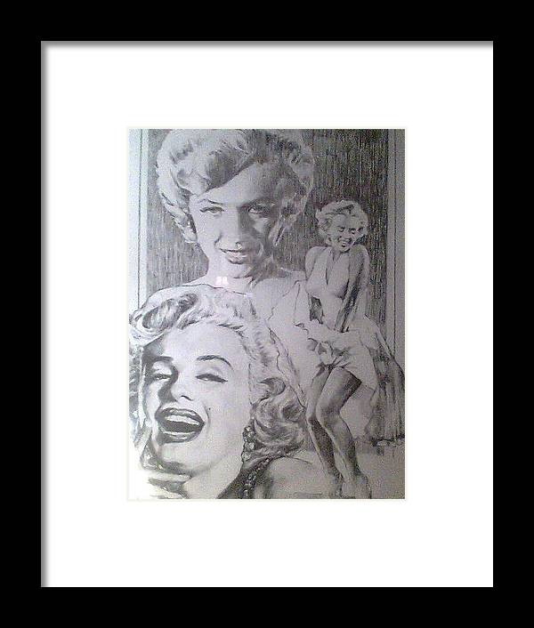 Marilyn Monroe Framed Print featuring the drawing Marilyn by Steve Hager