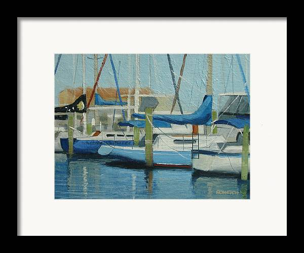 Boat Marinas Framed Print featuring the painting Marina No 4 by Robert Rohrich